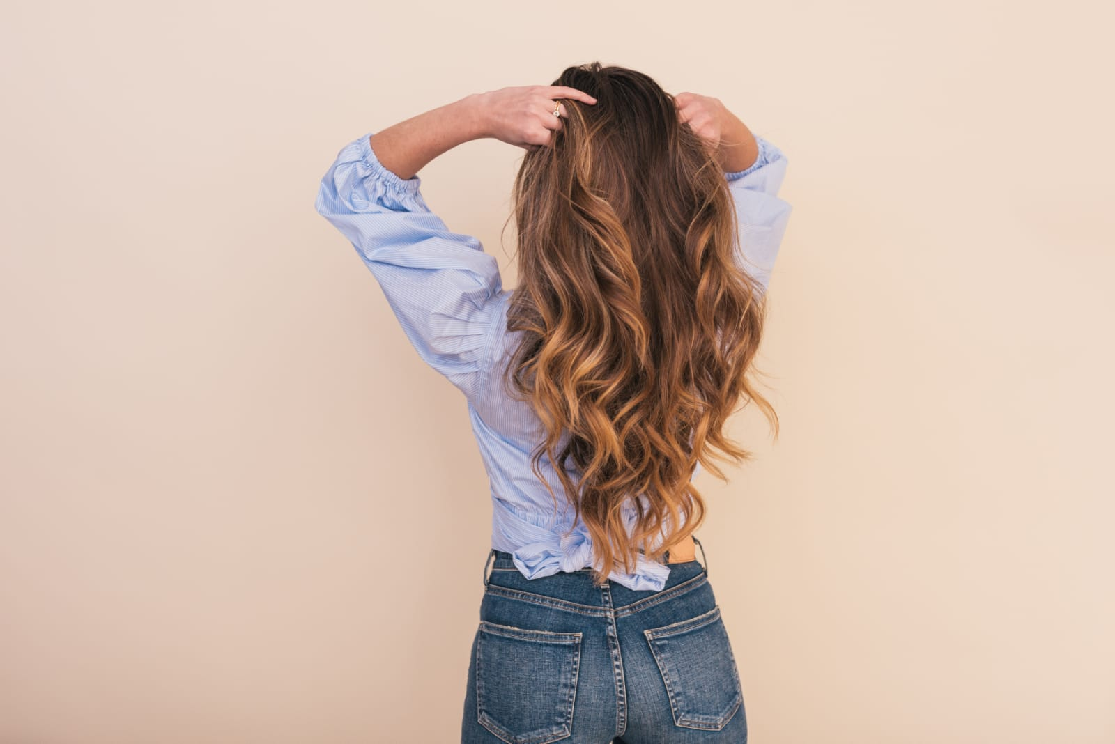Melír+toner+foukaná - dlouhé vlasy